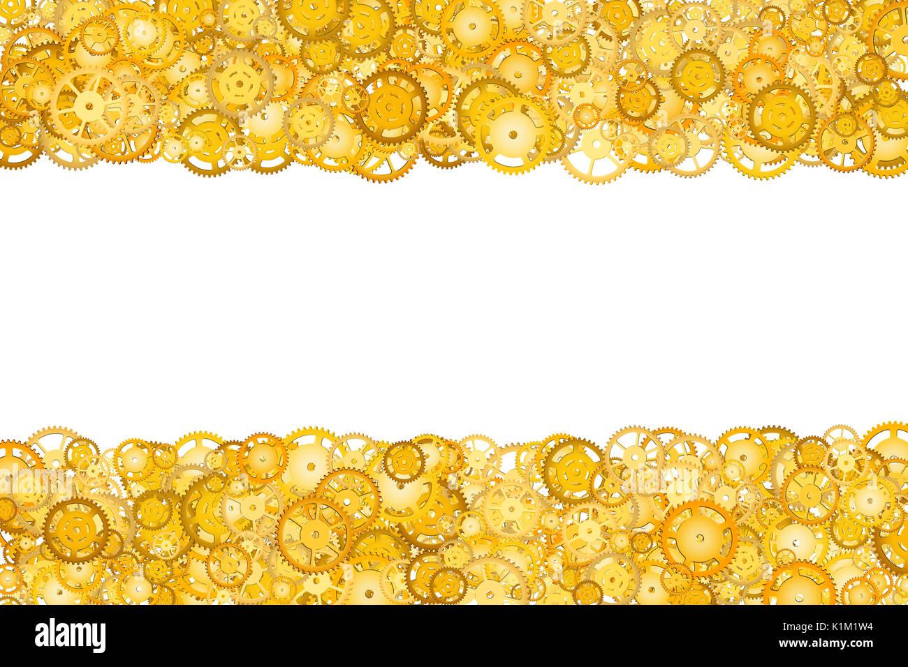 Grenze mit vielen Gängen. Goldene Rahmen der Zahnräder ...