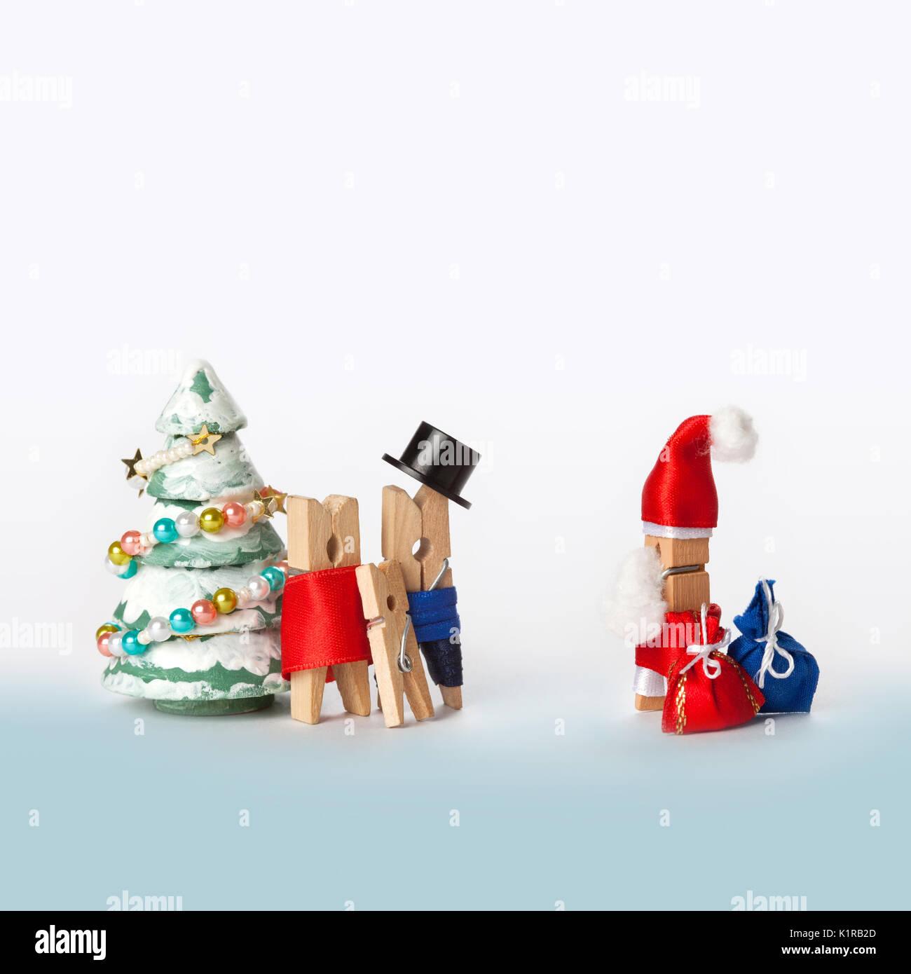 Holz wäscheklammer Familie mit Kind und Weihnachtsmann ...