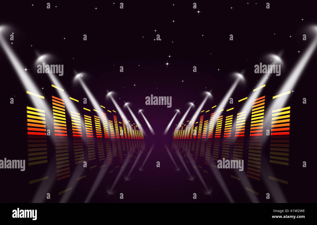 Multicolor Musik Hintergrund mit Equalizer und Strahler für Aktiv Veranstaltungen Stockbild