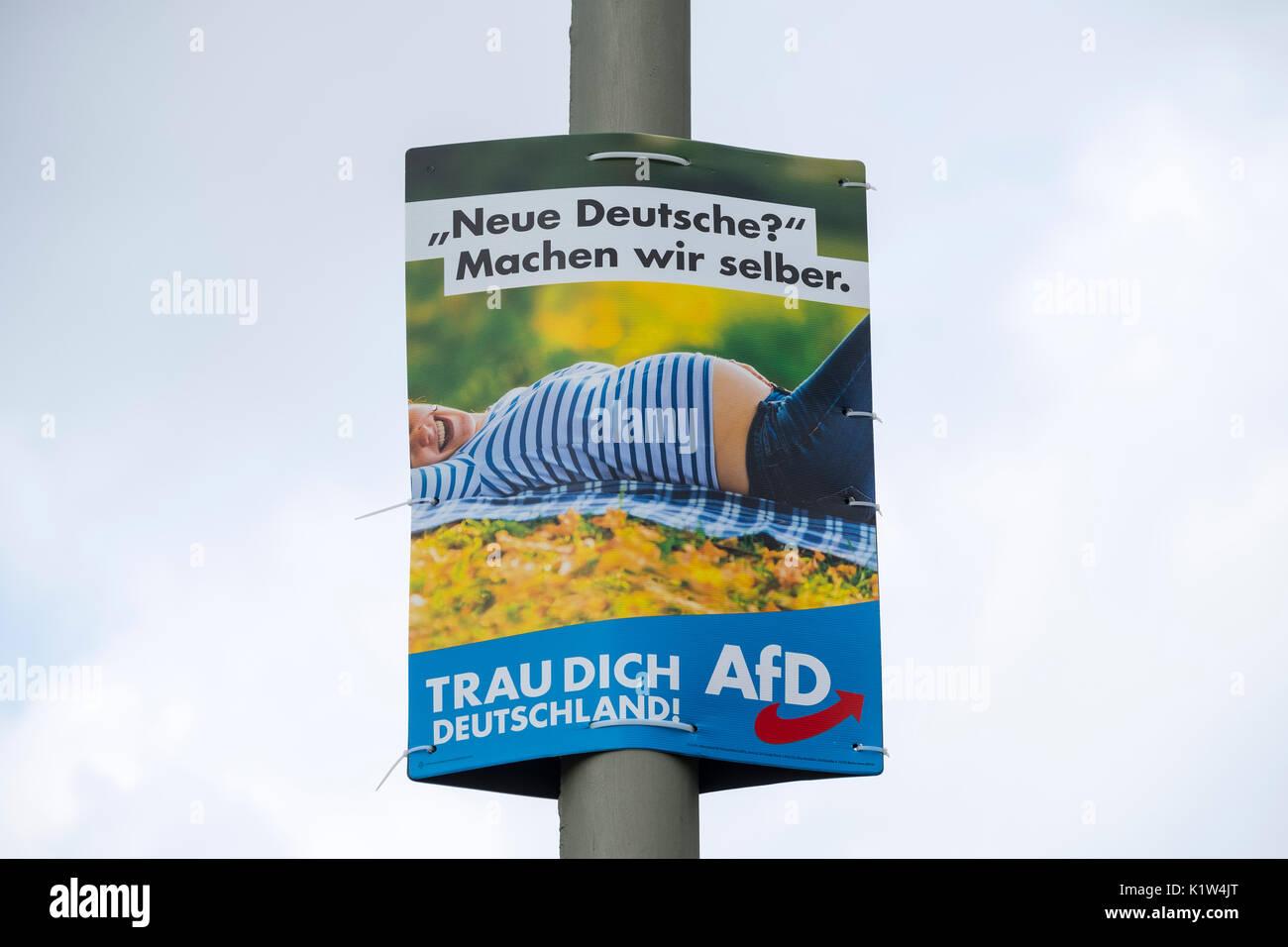 """Wahlplakat (mit Nachricht - """"Neues Deutschland? Hier können Sie es selbst) für AfD, Alternative Fell Deutschland, Rechtsgerichtete politische Partei in Berlin Germ Stockbild"""