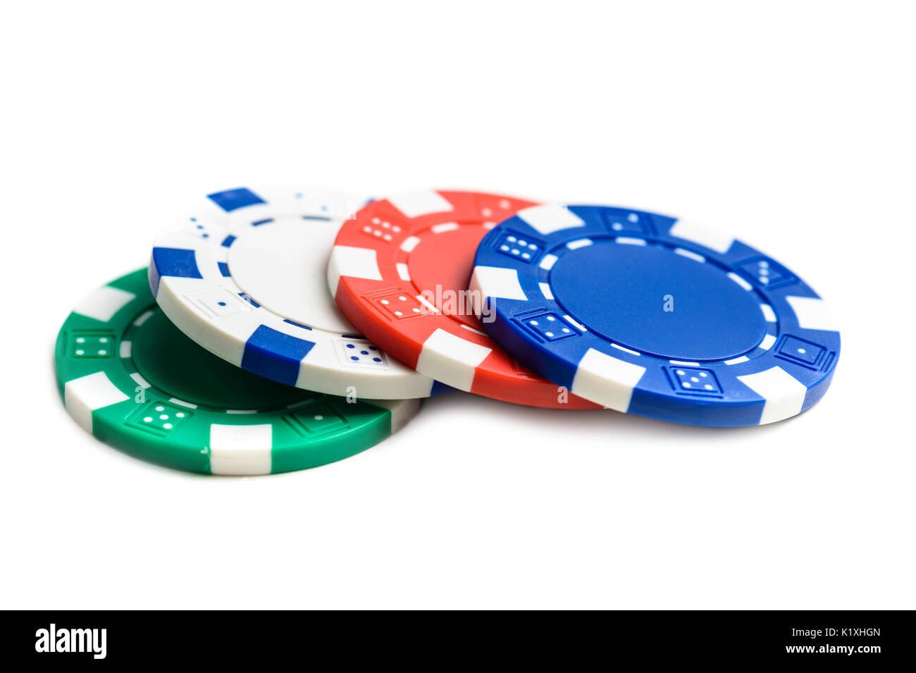 Casino Poker Chips auf weißem Hintergrund Stockbild
