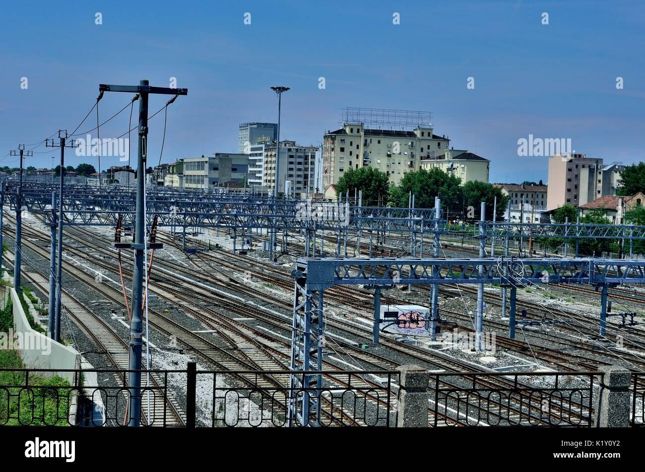 Venezia Mestre Bahnhof Gleise für die Züge in Richtung Ponte della Libertà und Venedig. Italien, Stockbild