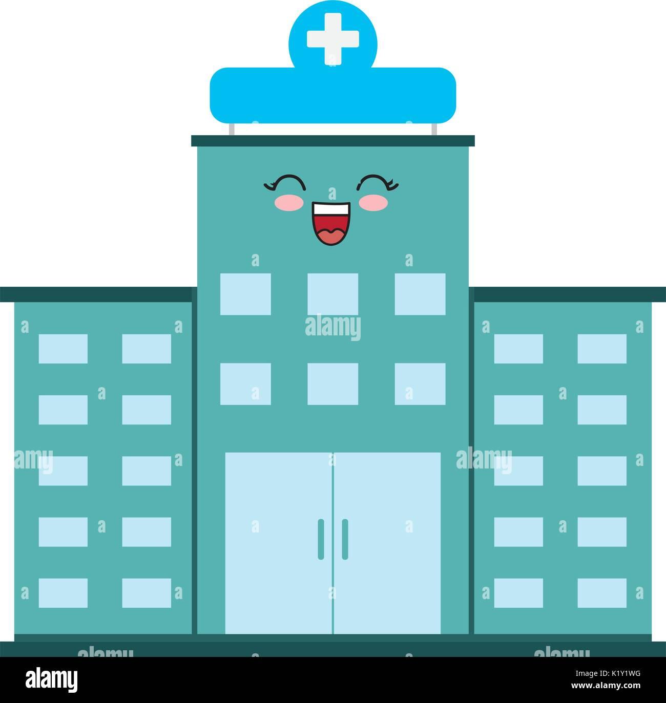 Download Anime Emergence: Kawaii Krankenhaus Gebäude Symbol Auf Weißem Hintergrund