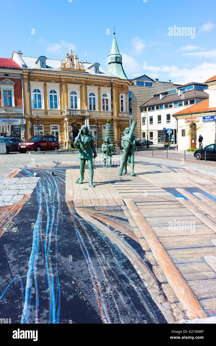 Ein Denkmal auf dem Hauptplatz der Stadt mit dem Salz Bergleute, die Wohlstand nach Wieliczka, die durch den Bergbau das Salz, historisch ein wertvolles Gut. Stockbild