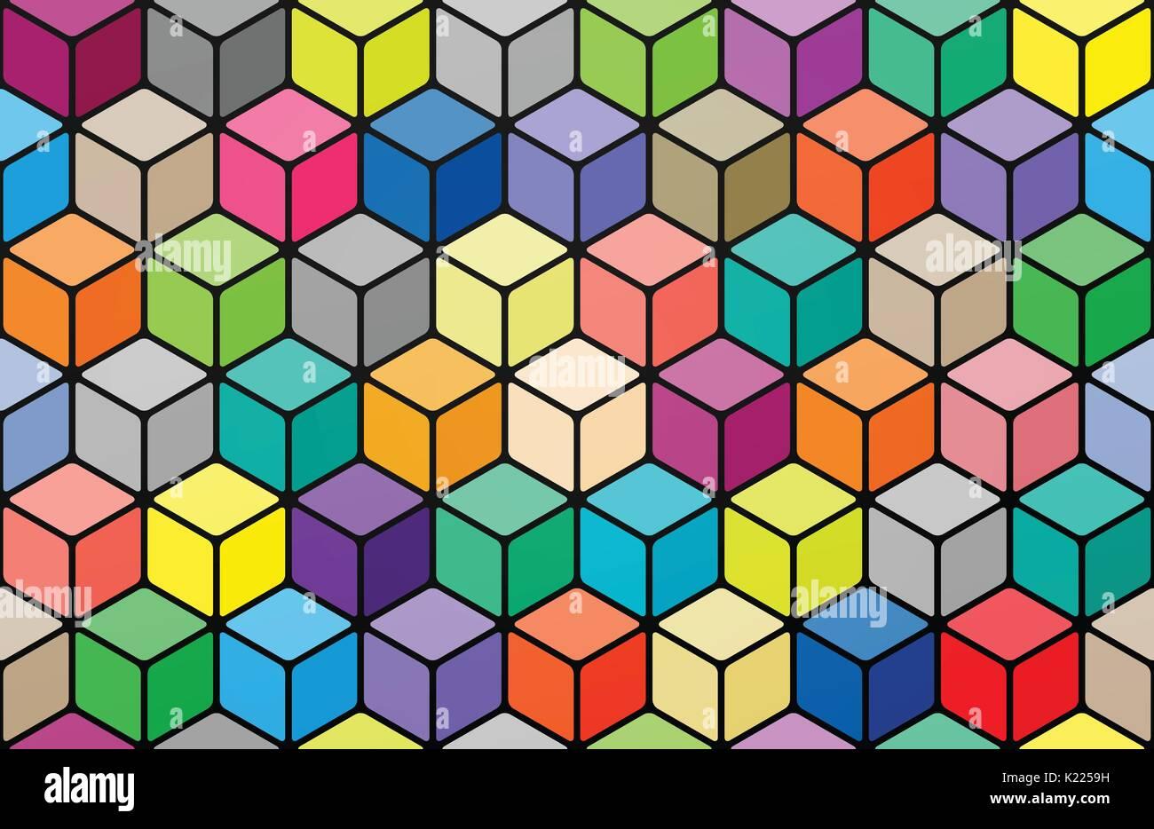 Nahtlose Muster Mit Farbigen Würfel Vivid 3d Effekt