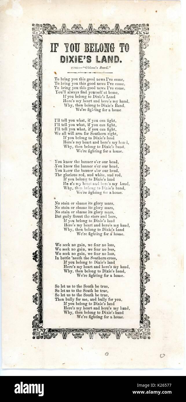 """Breitseite aus dem amerikanischen Bürgerkrieg, der den Titel """"Wenn Sie gehören zu Dixie Land"""", ein Sammelpunkt für die Konföderation, 1861. Stockbild"""