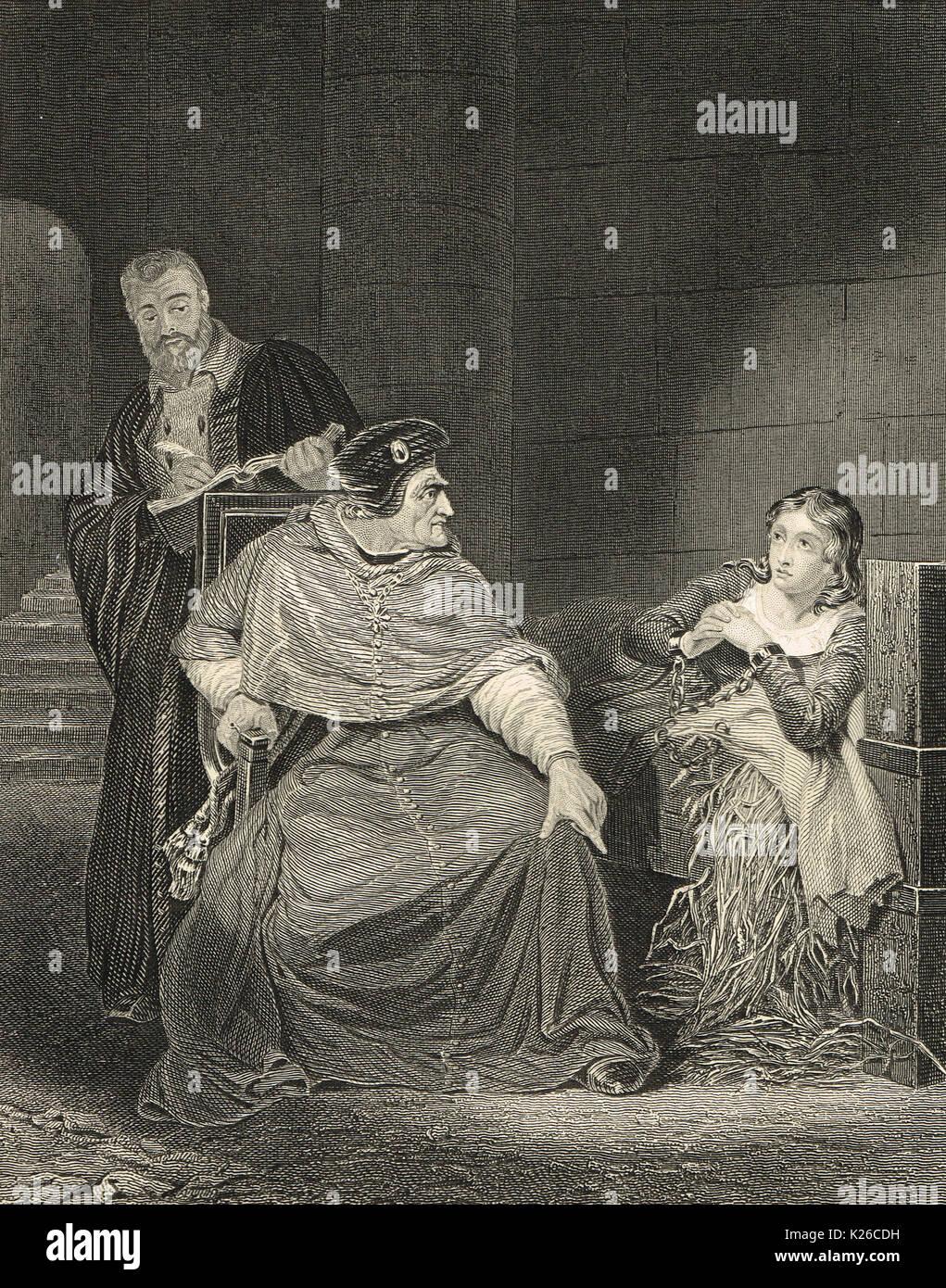 Jeanne d'Arc Gefängnis, mit Kardinal Henry Beaufort, 1431 Stockbild