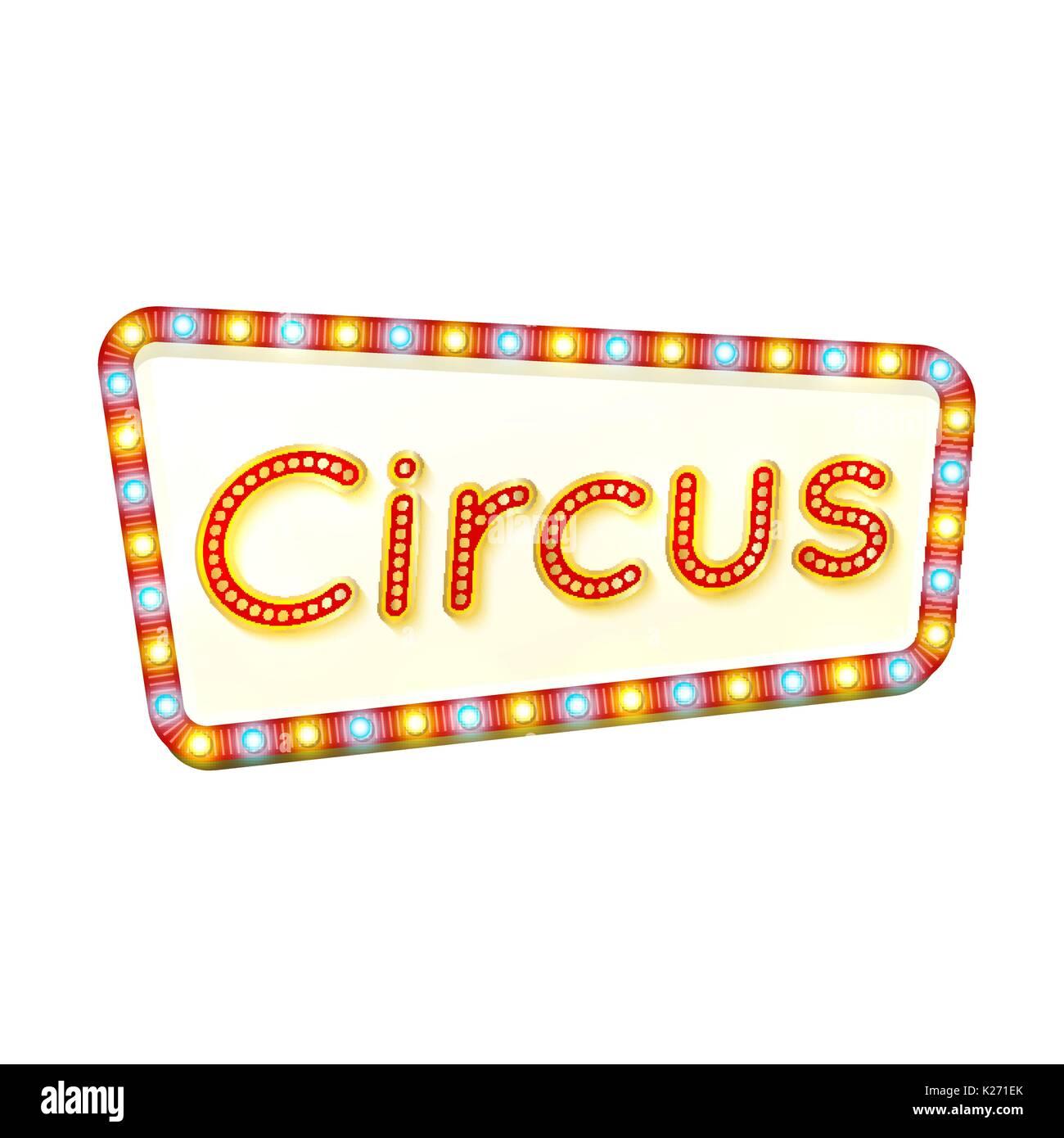 Zirkus retro-Rahmen. Werbung leuchtende Zeichen. Rote Straße ...