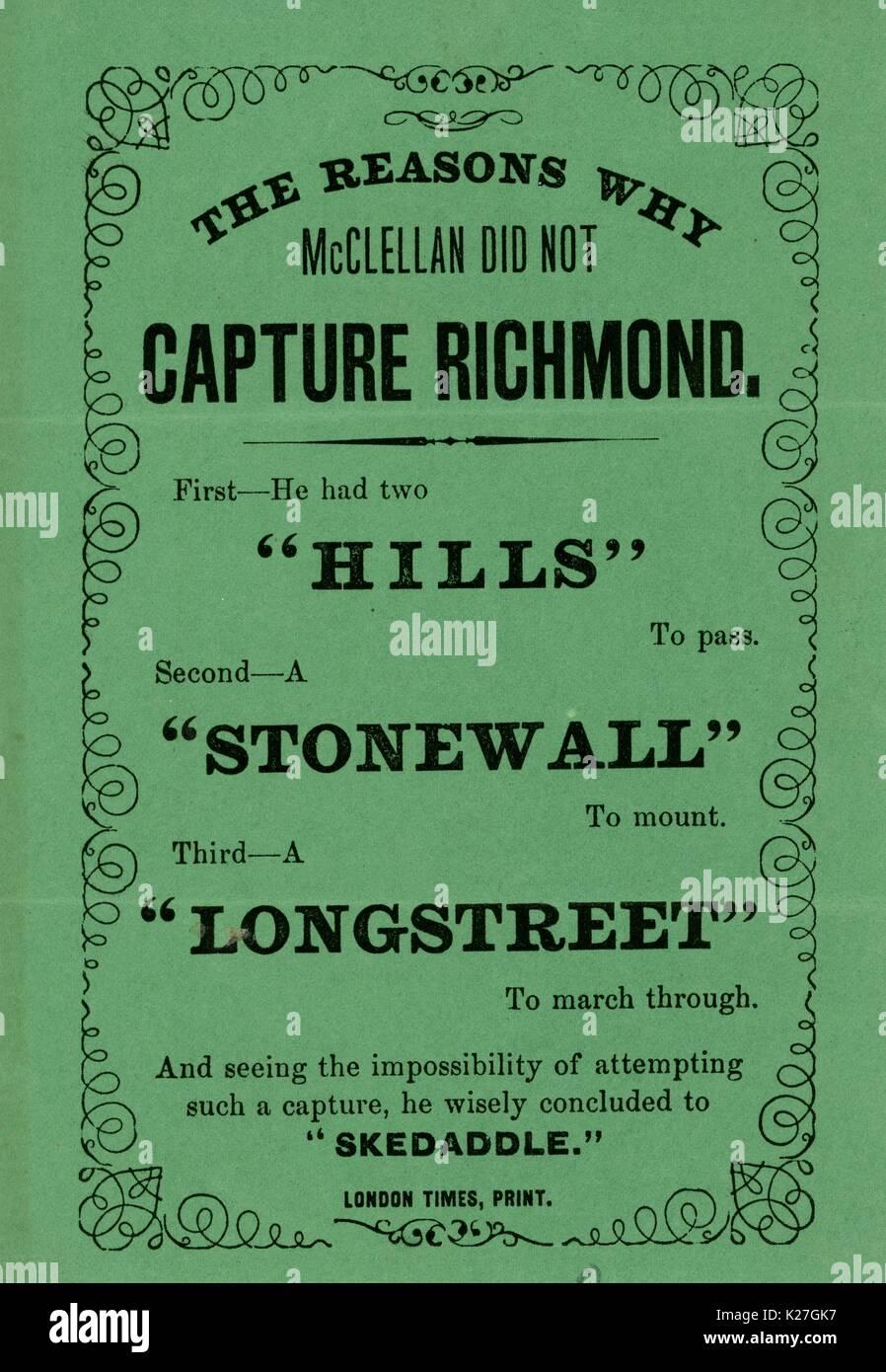 """Breitseite aus dem Amerikanischen Bürgerkrieg mit dem Titel """"Die Gründe, warum McClellan erfassen nicht die Richmond"""", mit einer Reihe von wortspielen in Anspielung auf Prominente verbündete Militärs haben. 1863. Stockbild"""