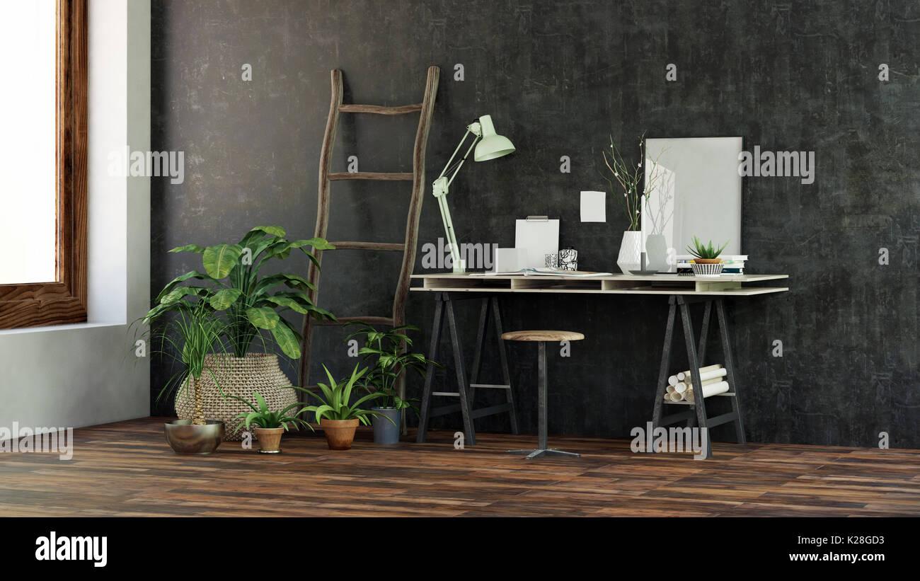 Kleine moderne Schreibtisch oder beim Schreiben der Tabelle mit ...