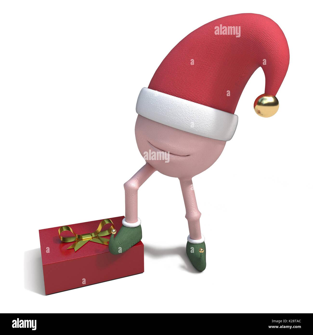 3D-Darstellung von Silly Cartoon Charakter in Mütze und Schuhe mit einem Geschenk Geschenk verpackt Stockbild