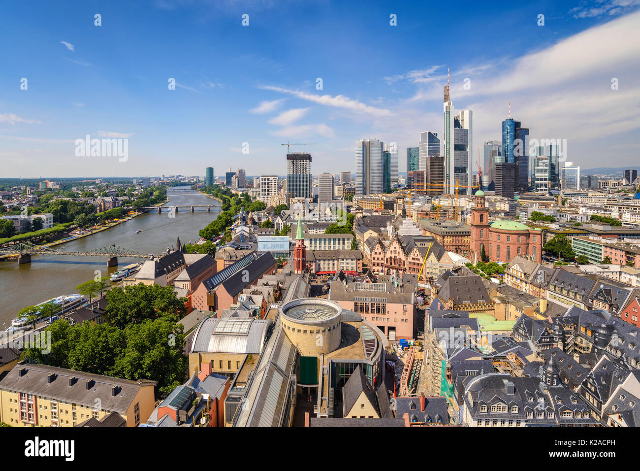 Frankfurter Engel anzeigen City Skyline, Frankfurt, Deutschland Stockbild