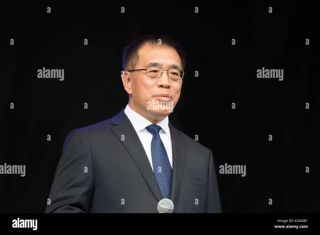 Herr Ning Wang, stellvertretender Bürgermeister von Peking, auf der China Festival 2017 in Köln, Deutschland. Stockbild