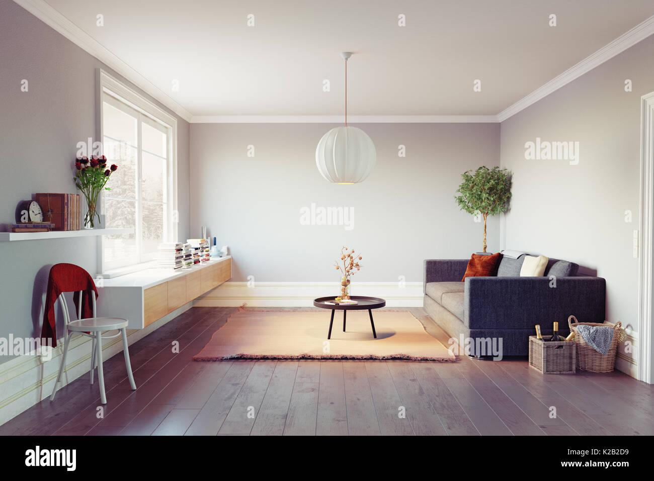 Modernes Wohnzimmer. Schöne Fenster Zone. 3D Rendering ...