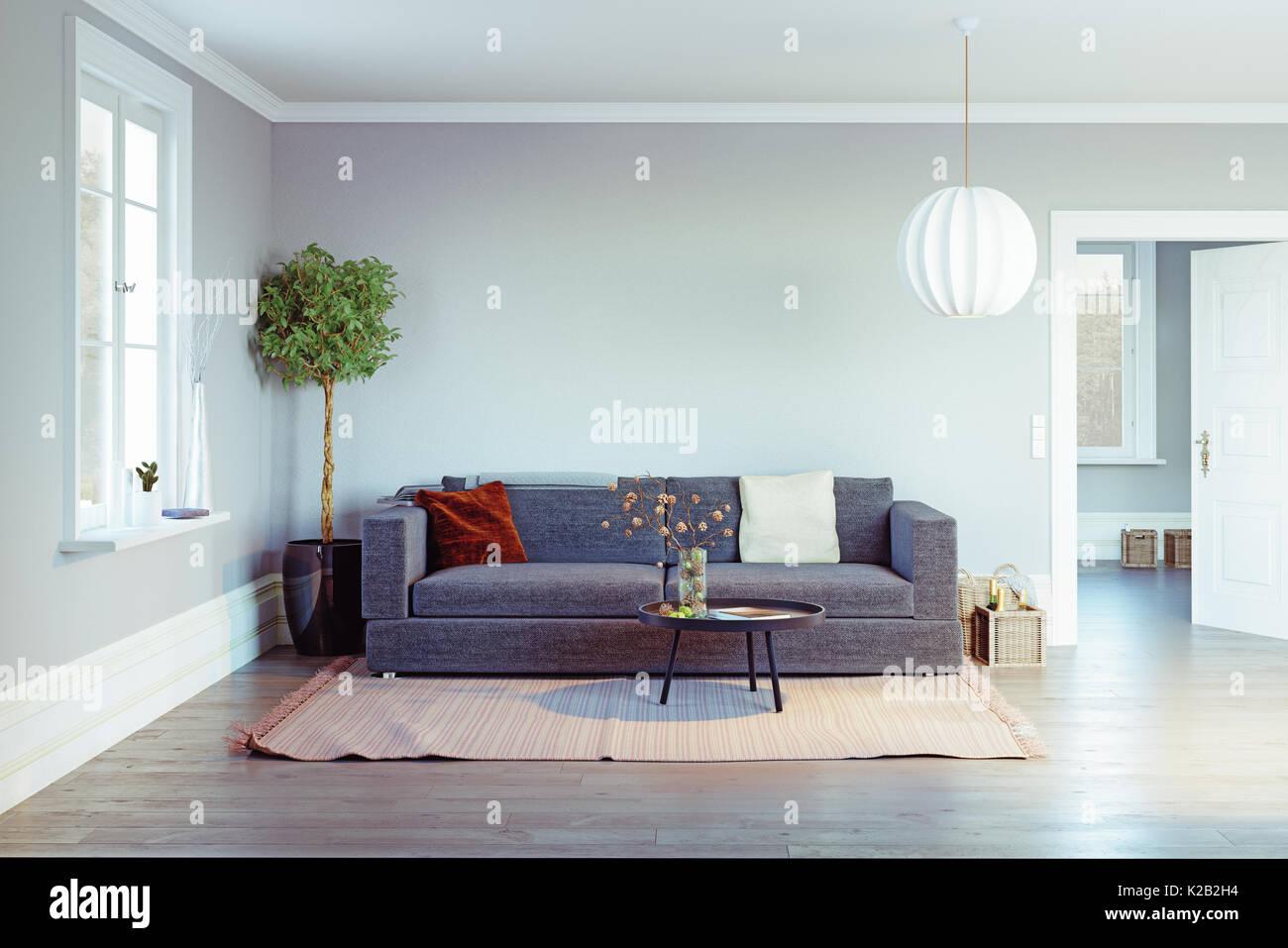 Modernes Wohnzimmer. 3D-rendering Design Stockfoto, Bild: 156366144 ...