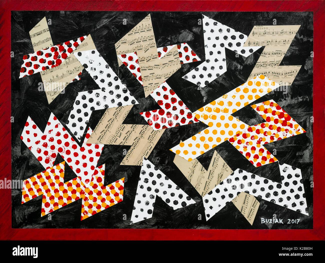 """""""Verbinden der Punkte - Musikalisch"""" - abstrakte Kunstwerke von Ed Buziak. Stockbild"""