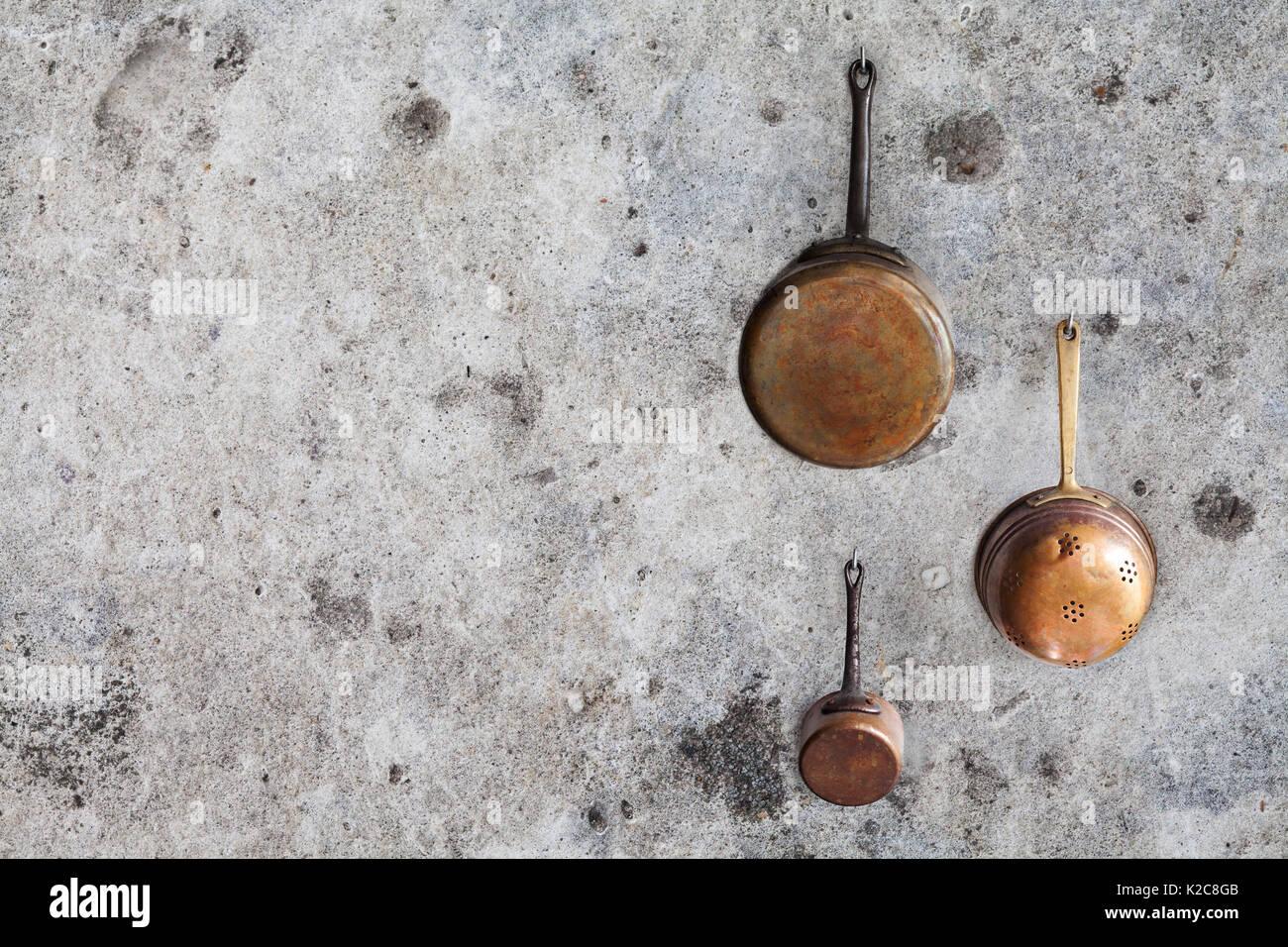 Kupfer Kuchengerate Kuchenutensilien Topf Gesetzt Im Alter Von
