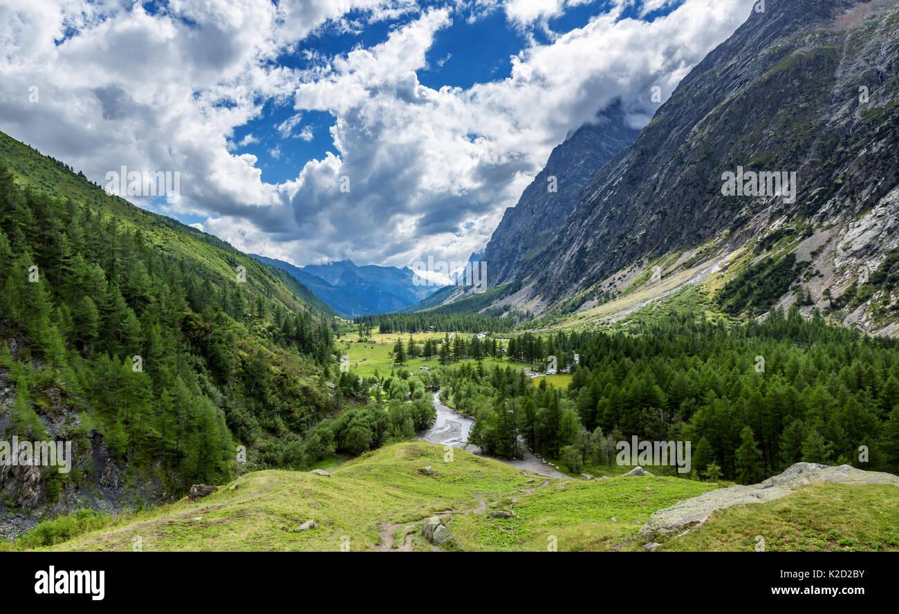 Val Ferret, Aostatal, Italien Stockbild