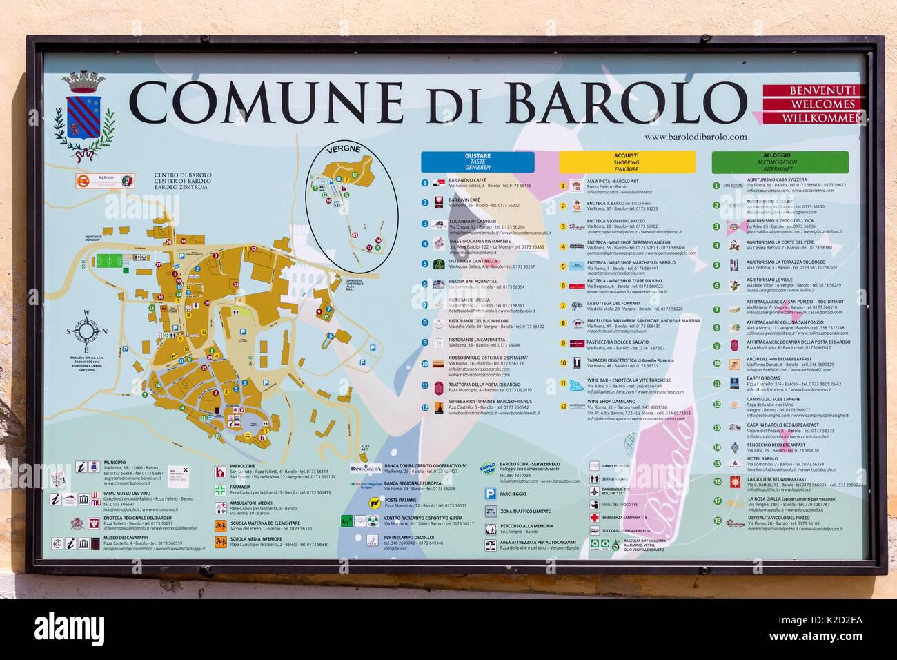 Piemont Weinbau Karte.Karte Zeigt Dass Alle Wein Häuser Und Orte Um Barolo Piemont