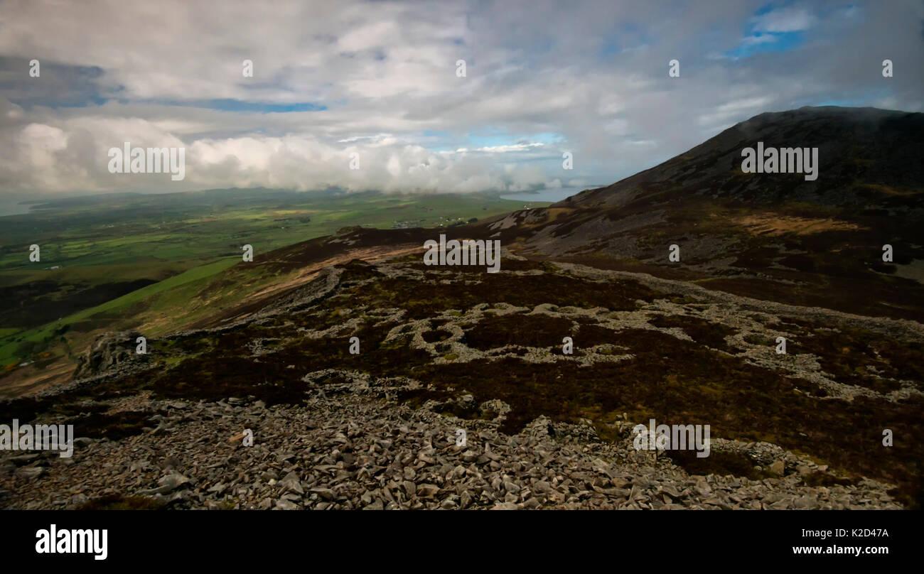 Hütte Kreis Gruppen innerhalb der Eisenzeit Hill fort, Tre'r Ceiri in der Nähe von Jahr Eifl, oben Nefyn, Gwynedd, Stockfoto