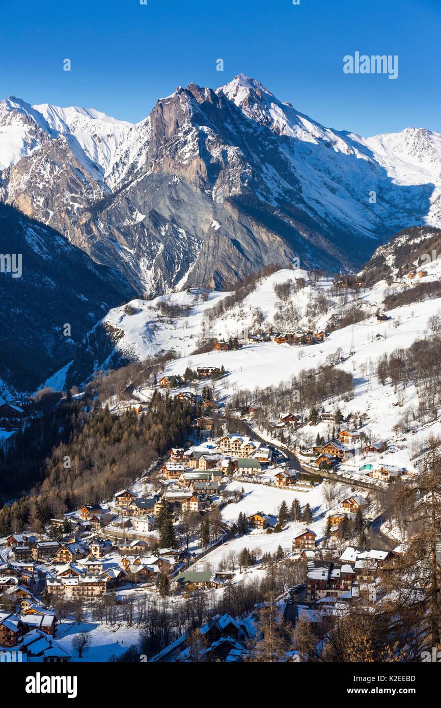 Valloire Savoie Skigebiet in den Französischen Alpen, Maurienne Tal, Savoie, Frankreich Stockbild