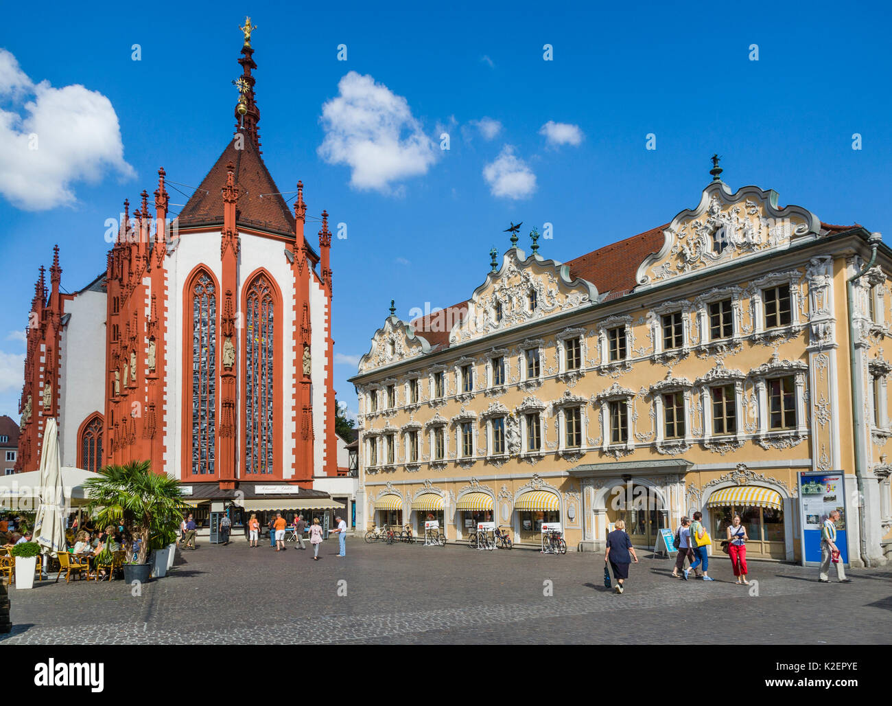 Deutschland bayern franken w rzburg marktplatz mit for Wurzburg pension mit fruhstuck