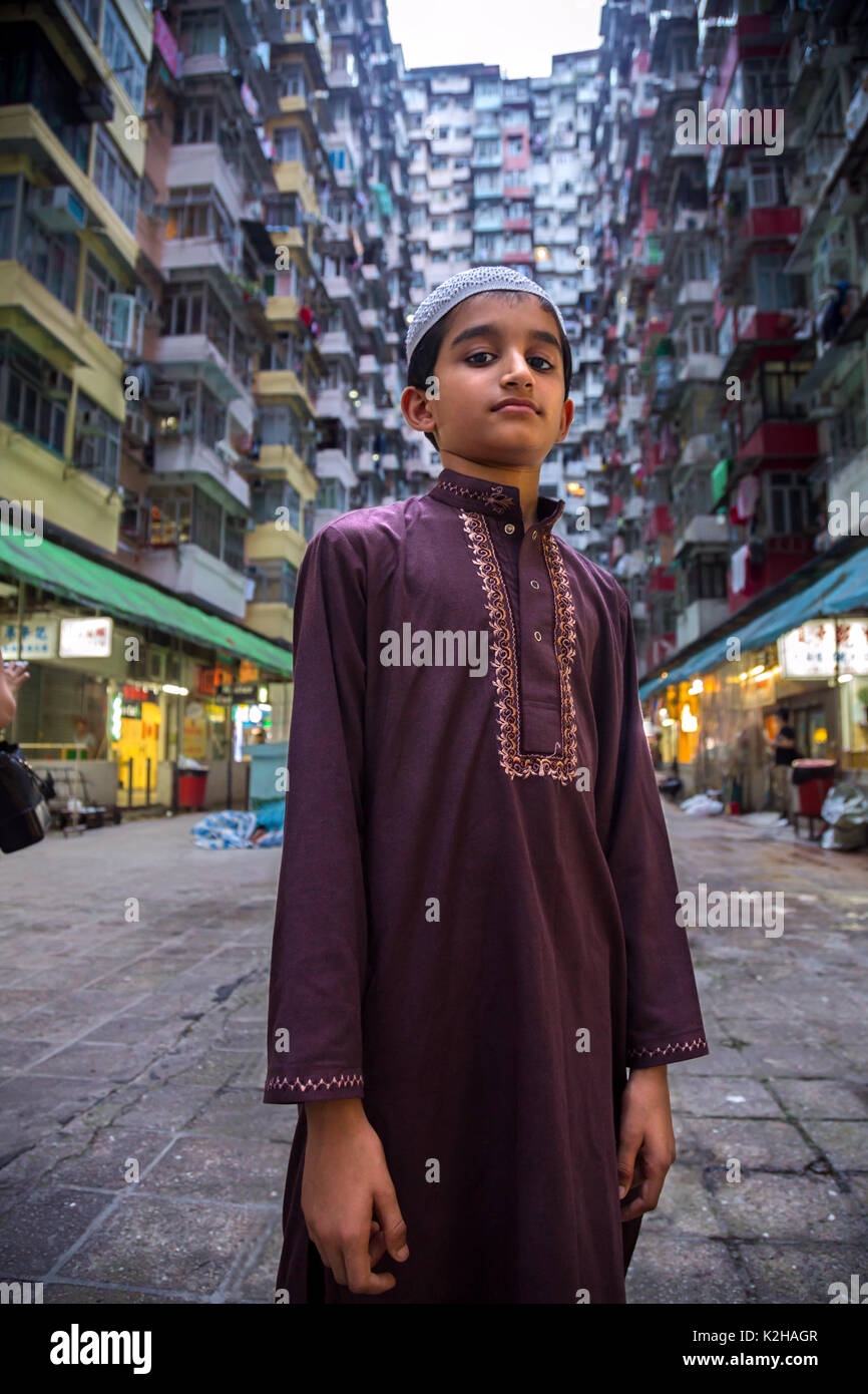 Muslimische Kinder in den montanen Mansion, Quarry Bay, Hong Kong Stockbild
