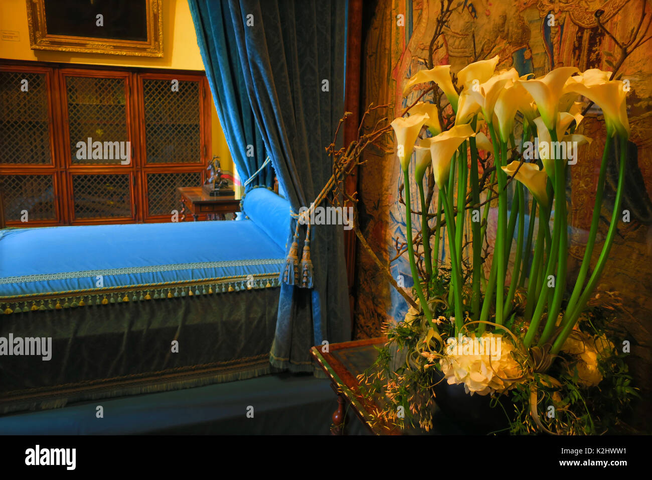 Calla Blumen im Schlafzimmer von Diane de Poitiers, Chateau ...