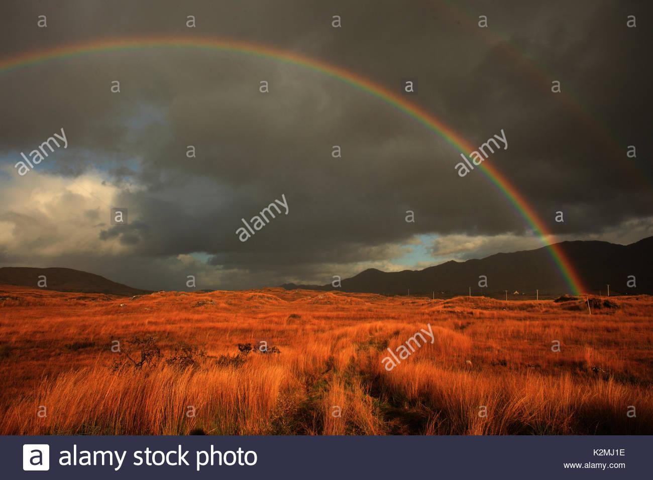 Regenbogen über Moor landet in der Nähe von ardgroom auf der Beara Halbinsel Stockbild