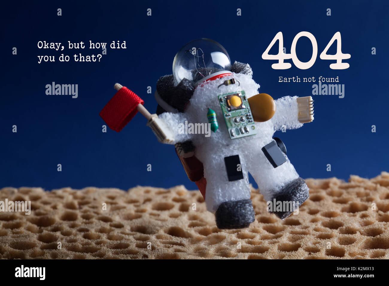 Fehler 404 Seite nicht gefunden. Spaceman Astronaut floating Stratosphere Planet und blauer Himmel. Text Okay, aber wie hast Du das gemacht Stockbild