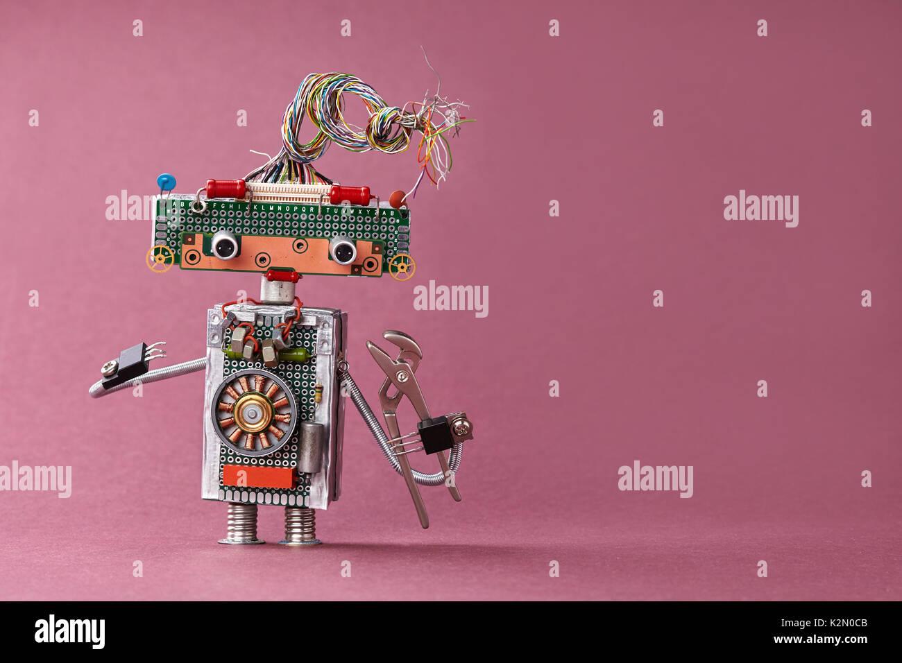 Kreatives Design Spielzeug Elektriker Zange in der Hand. Bunte ...