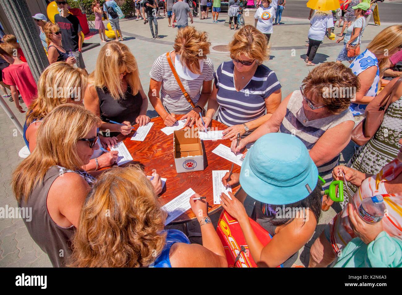 Sponsoren füllen sie Formulare für Kunststoff Enten, die an Land in surf die Abweichung von der Pier in Stockbild