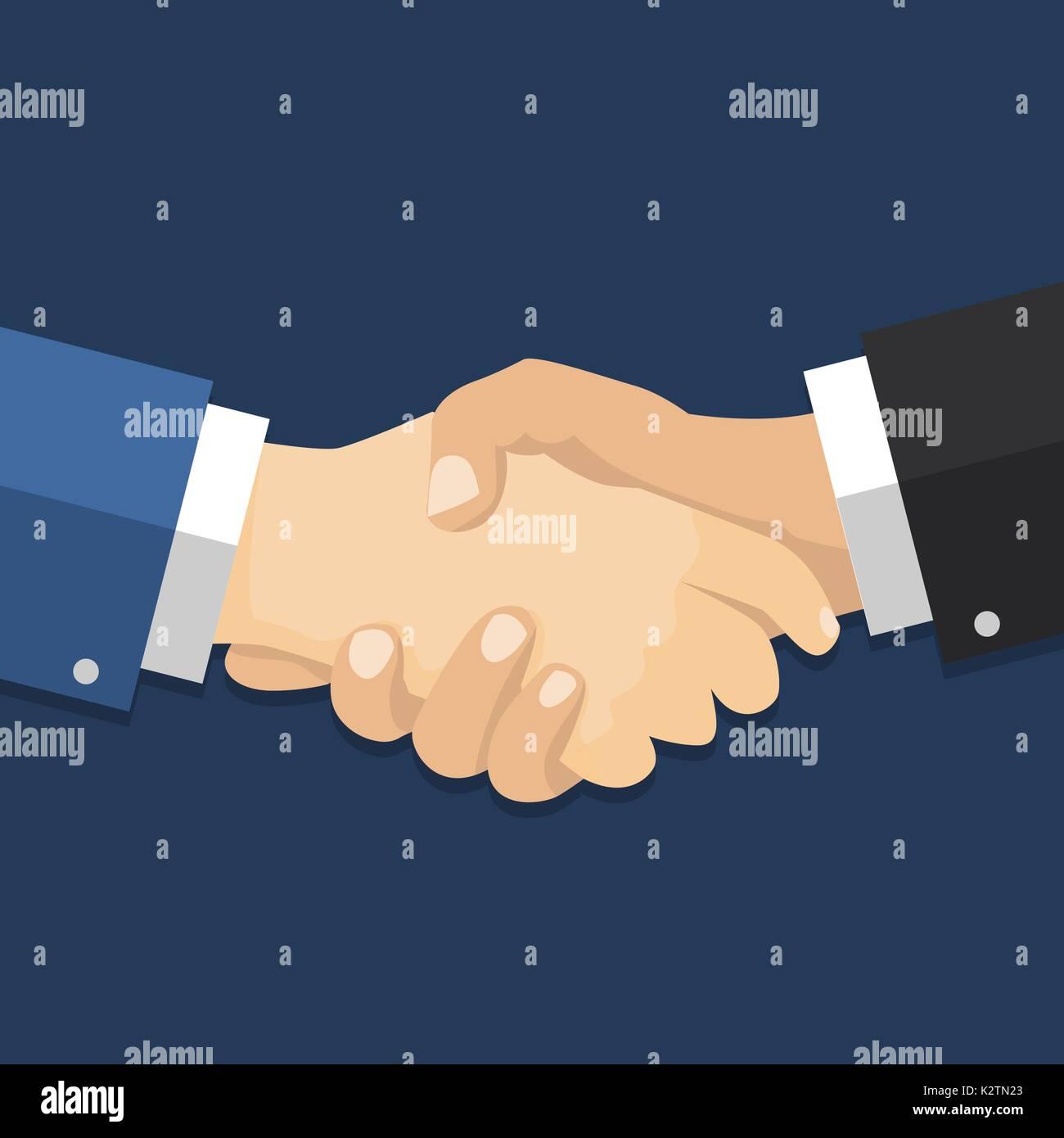Zitternden Händen flache Design-Konzept. Handshake ...