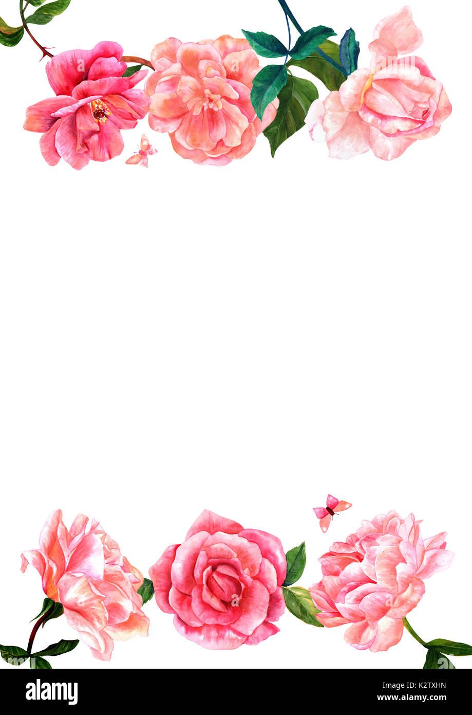 Blumen Einladung oder Grußkarte Design mit Aquarell Blumen, Rosen, Pfingstrosen, Kamelien, mit Schmetterlingen, Blätter, und kopieren. Vintage Style Stockbild