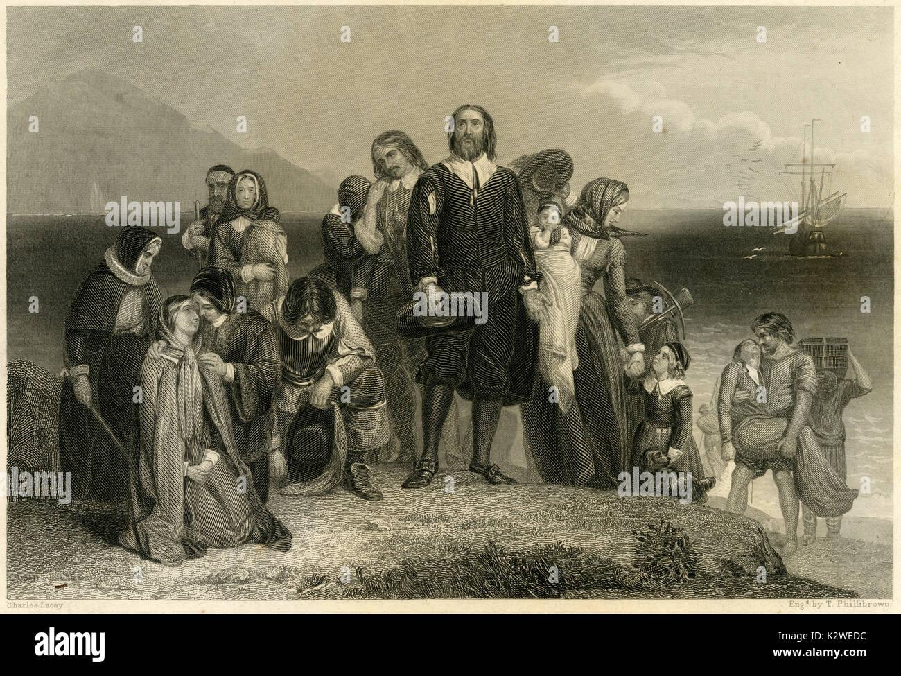 """Antike 1856 Gravur von """"Landung der Pilgerväter' von Charles Lucy (1814-1873). Quelle: ORIGINAL STAHLSTICH. Stockbild"""