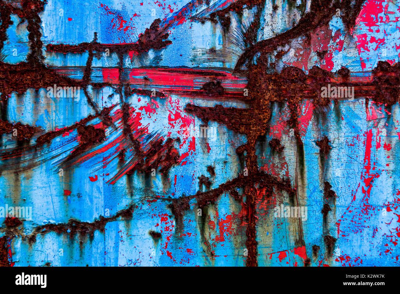 Zusammenfassung Der Blauen Und Roten Farbe Mit Rost Und Die