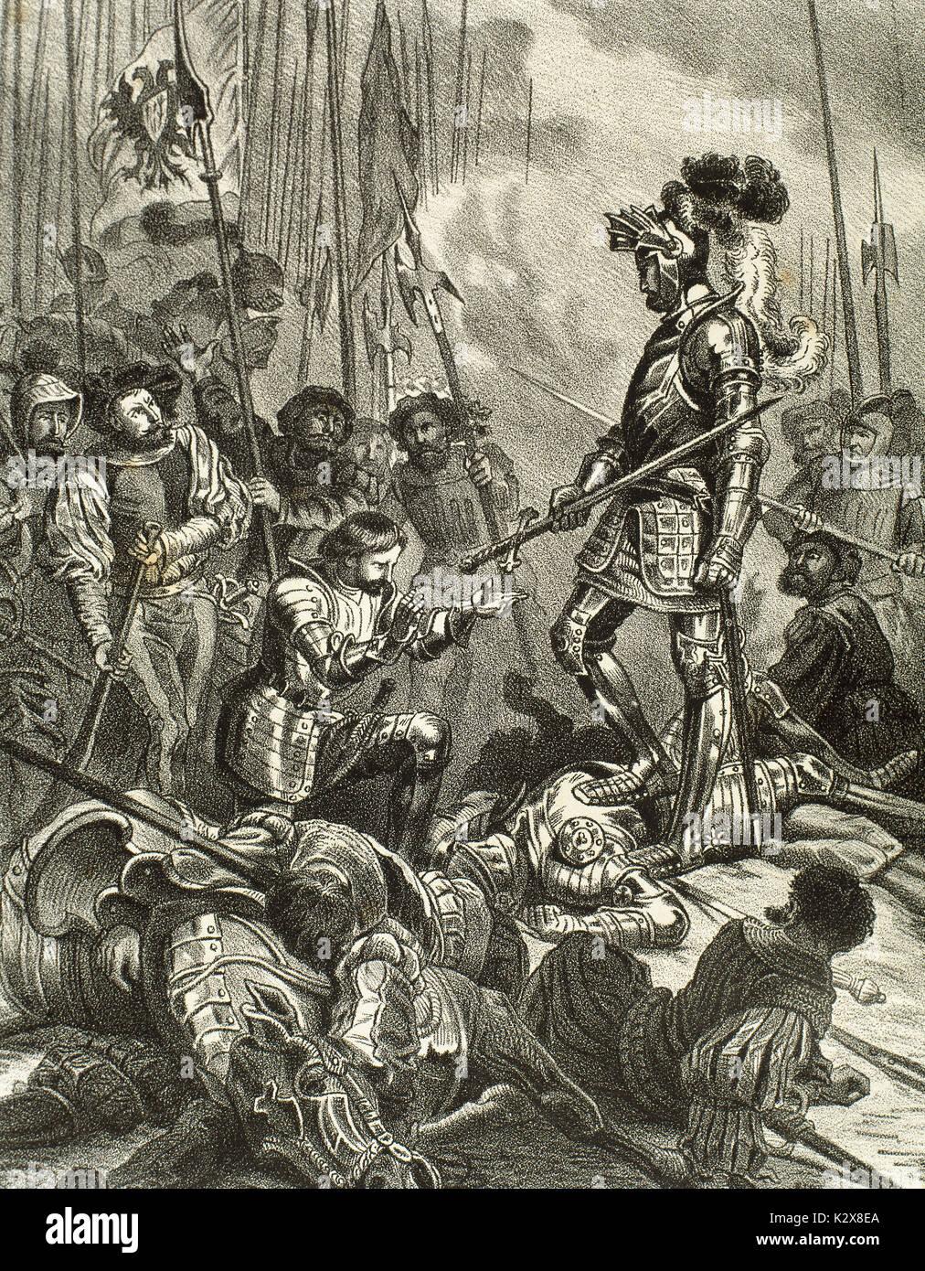 Die Schlacht von Pavia. Am 24. Februar 1525 zwischen der französischen Armee unter König Franz I. (1494-1547) und deutsch-spanischen Truppen von Kaiser Karl V. (1500-1558), der die Schlacht gewonnen. Franz I. von Frankreich hat Gefangene nach seiner Niederlage. Gravur. Stockbild