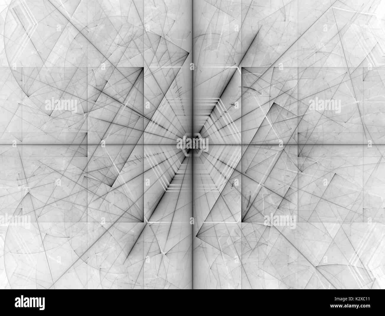 Futuristische dunkle Linien auf weissem, Computer abstrakten Hintergrund erzeugt, 3D-Rendering Stockbild