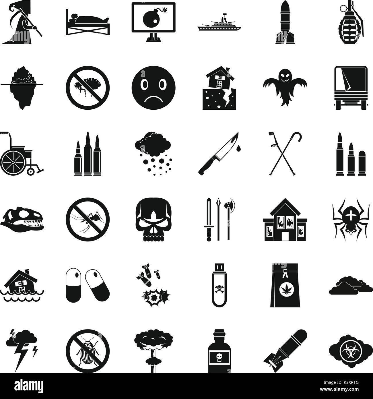 Spannung Symbole gesetzt, einfachen Stil Vektor Abbildung - Bild ...