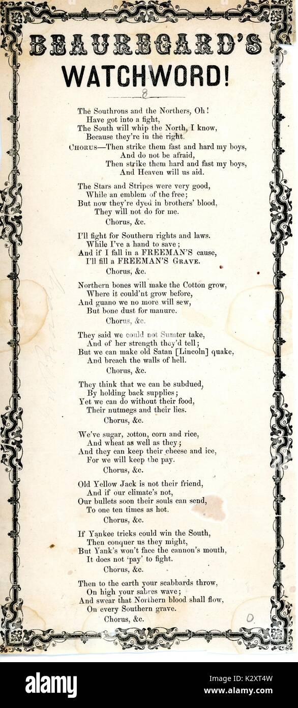"""Breitseite aus dem amerikanischen Bürgerkrieg, der den Titel """"Beauregard die Parole!"""", ein Aufruf zur Unterstützung der Konföderation, 1861. Stockbild"""
