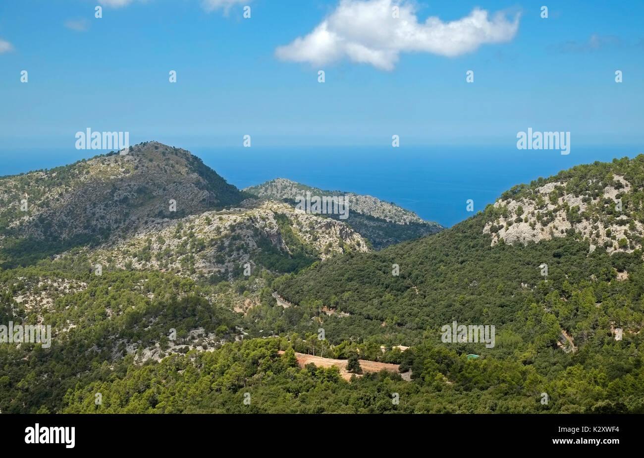 Ansicht von oben Soller Nordküste von Mallorca Mallorca Spanien Espana EU Europäische Union Europa Stockbild