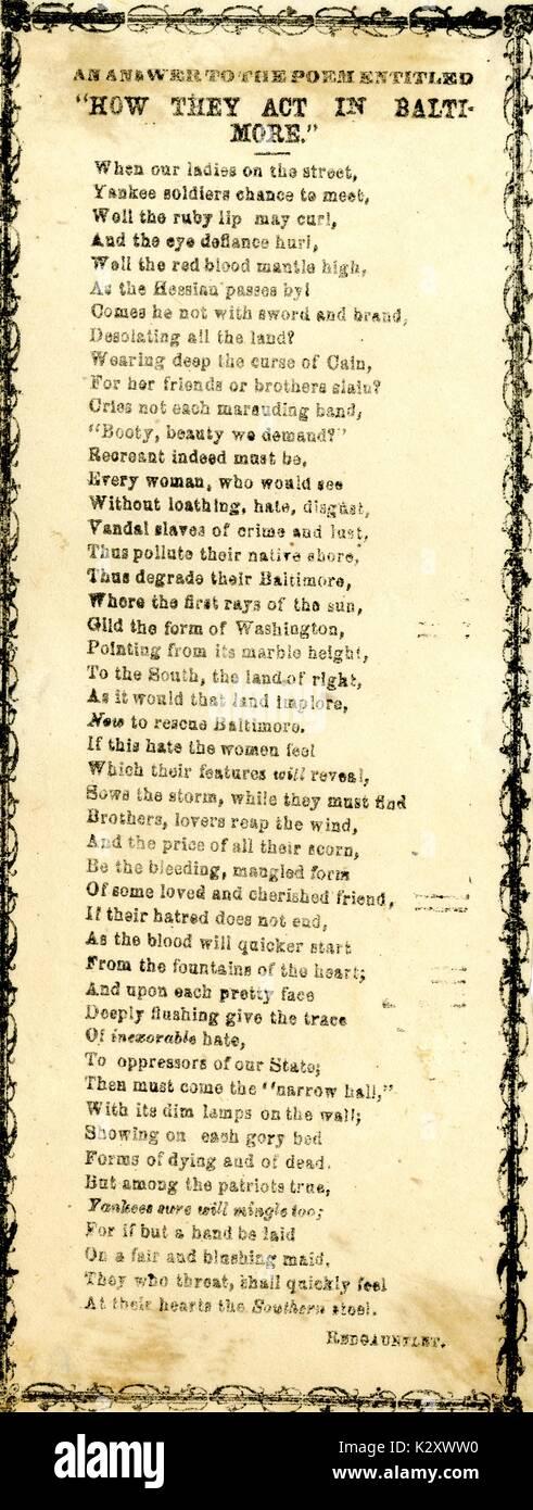 """Breitseite aus dem amerikanischen Bürgerkrieg, der den Titel """"Eine Antwort auf das Gedicht mit dem Titel """"Wie sie Handeln in Baltimore'', beschreibt Union Soldaten gehen nach Baltimore und ihr Interesse an die Frauen, die Männer sind, die die Union nicht mögen, weil sie im Norden sind. 1863. Stockbild"""