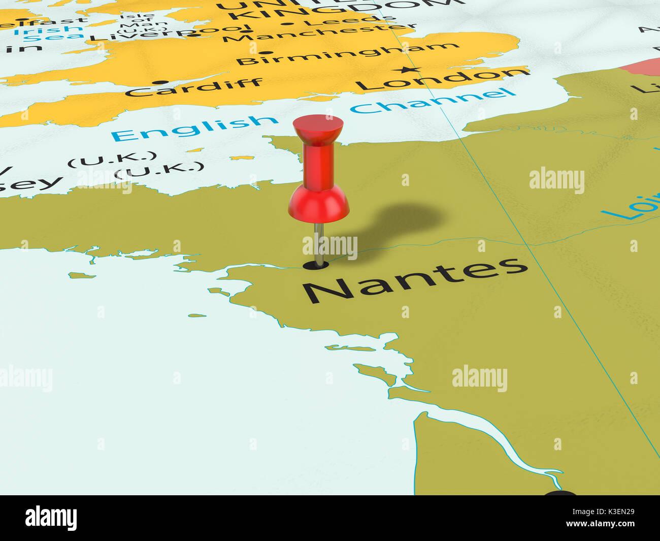 Nantes Karte.Stecknadel Auf Nantes Karte Hintergrund 3d Darstellung Stockfoto