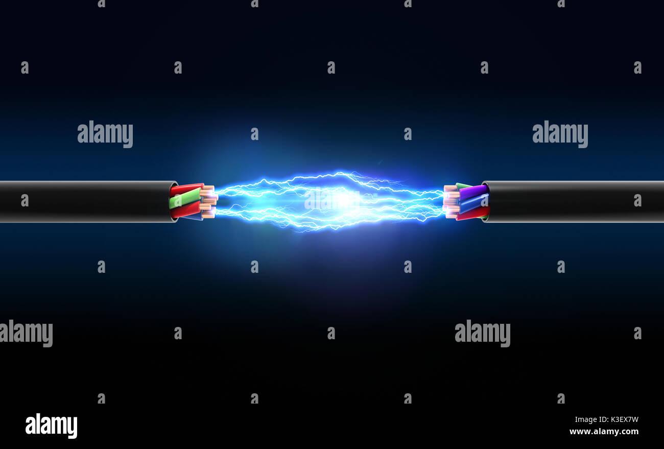 Elektrische Funken zwischen zwei Drähten. 3D-Darstellung Stockbild