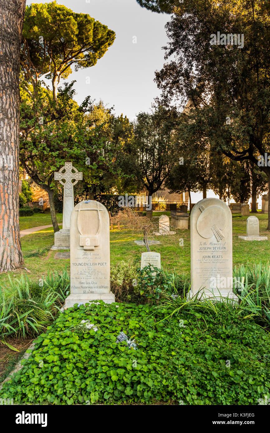 Grab von John Keats, cemeterio acattolico, Testaccio, Rom, Latium, Italien Stockbild