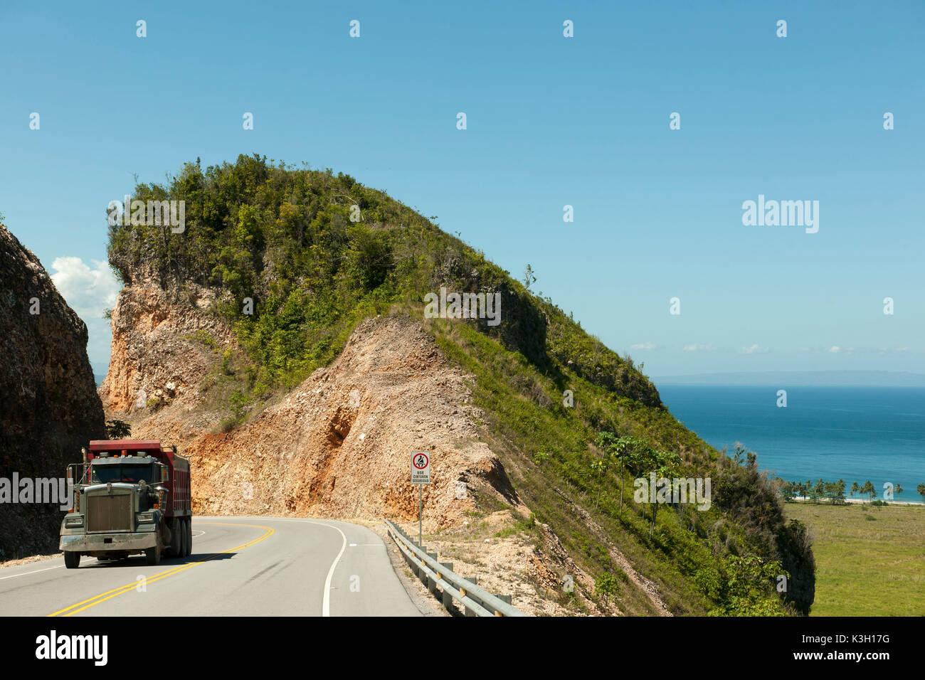 Die Dominikanische Republik, Halbinsel Samana, boulevard Turistico del Atlantico an der Nordküste zwischen Las Terrenas und der Flughafen von Samana Stockbild
