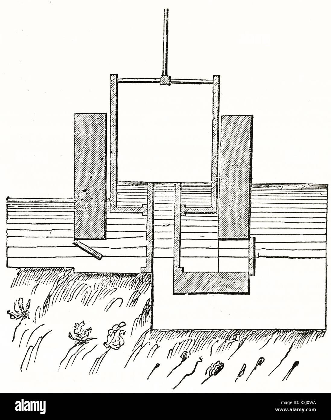 Alte schematische Darstellung von jappelli Maschine für die Sümpfe ...