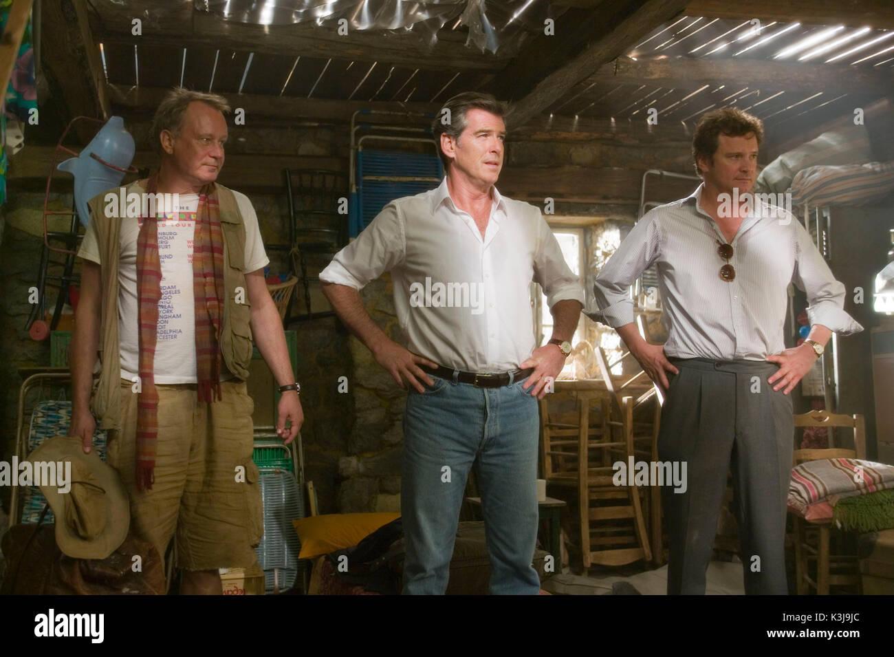 MAMMA MIA! STELLAN SKARSGARD, PIERCE BROSNAN (Sam), Colin Firth (Harry) MAMMA MIA! Datum: 2008 Stockbild