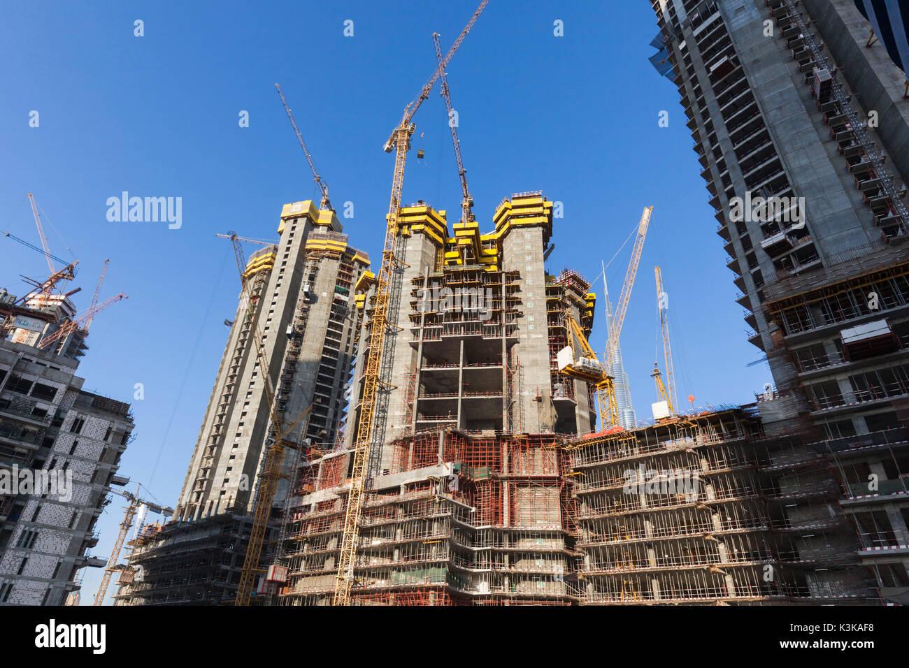 UAE, Dubai, Downtown Dubai, Baukräne Stockbild