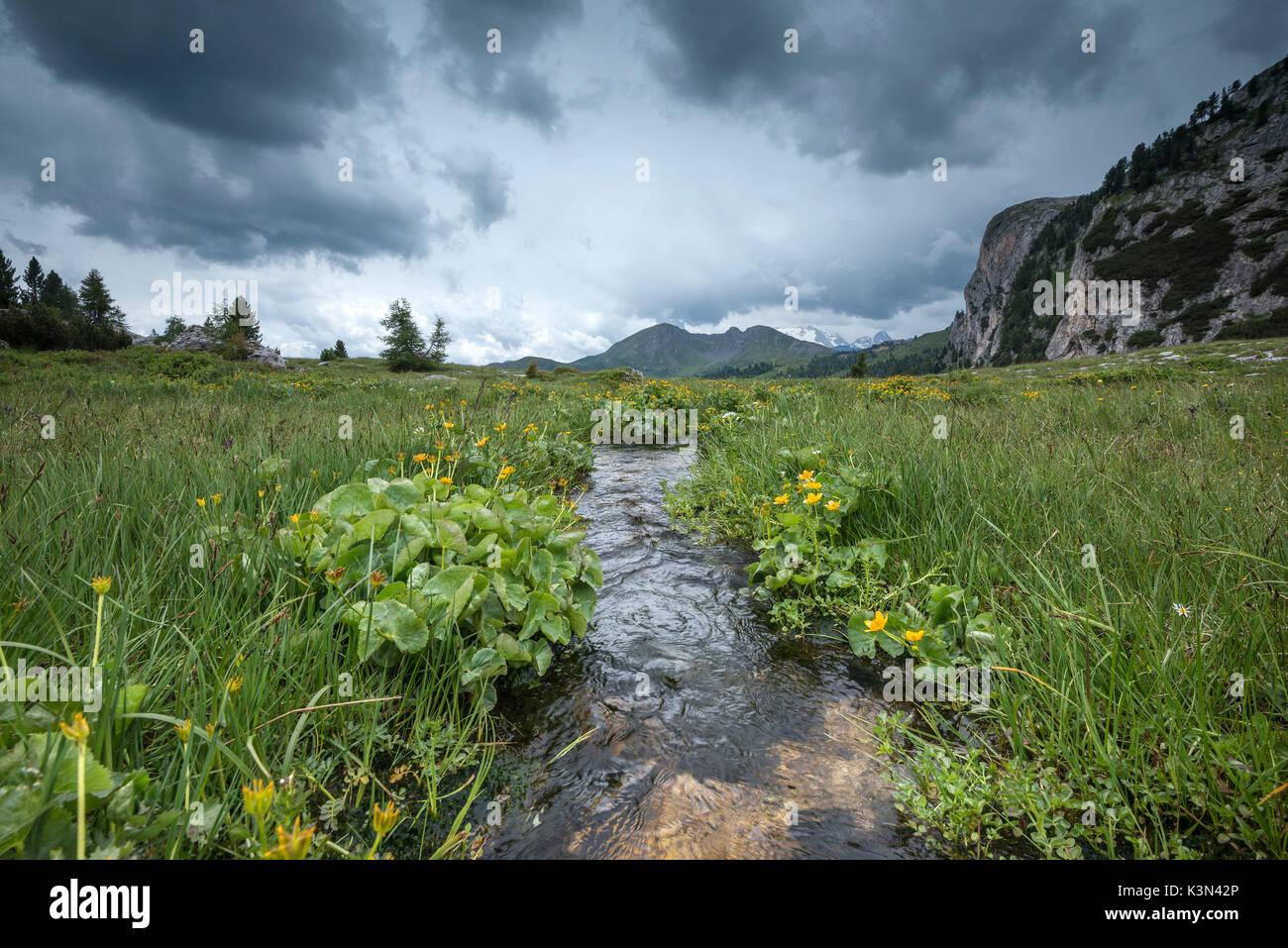 Passo Valparola, Dolomiten, Italien. Eine Regenfront bewegt an. Im Hintergrund der Col di Lana, im Ersten Weltkrieg Stockbild